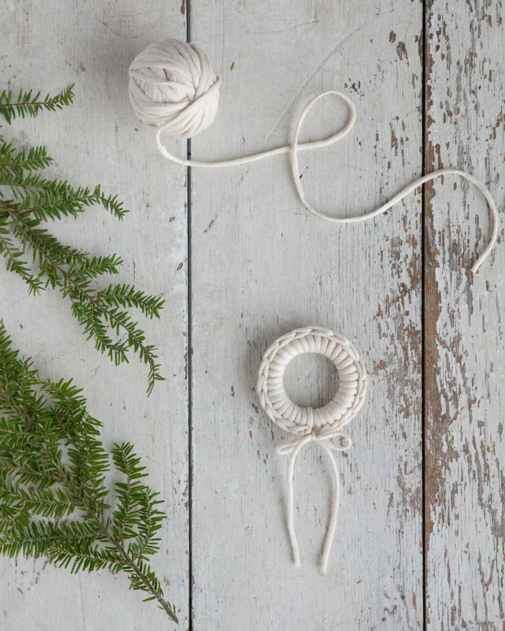 white yard crochet wreath