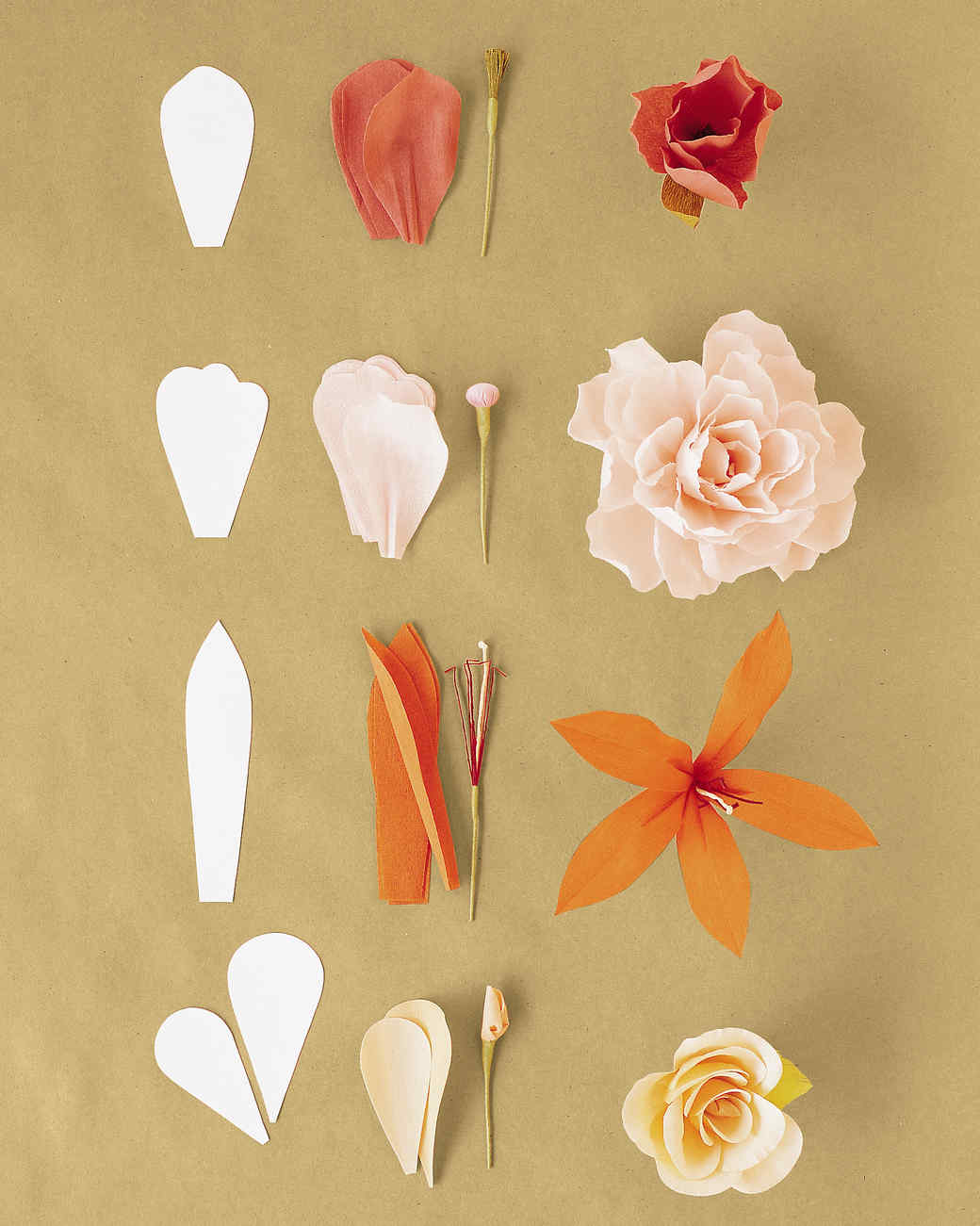 How to make flower with crepe paper step by