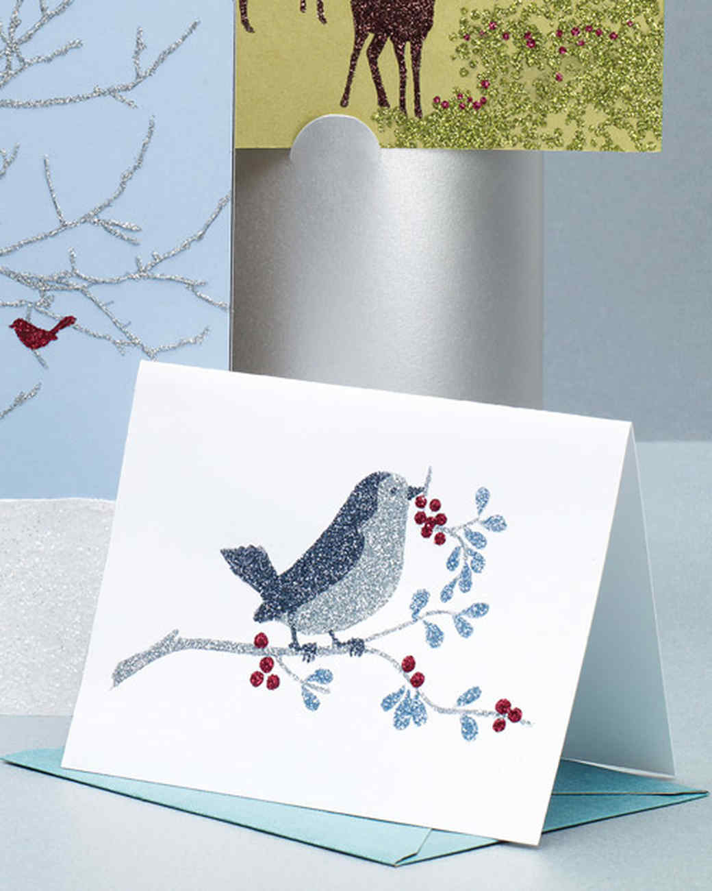 Glittered Clip-Art Bird and Berry Cards