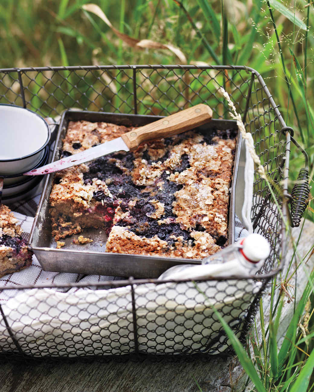 Oat Cake with Blueberries and Blackberries