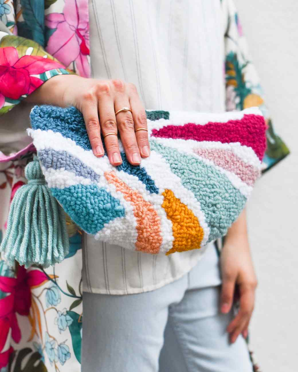 punch needle embroidered clutch