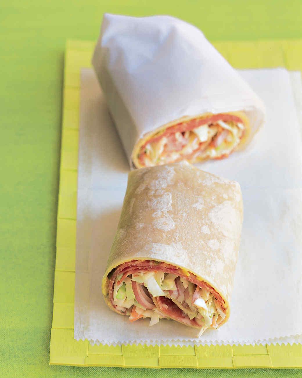 Salami and Coleslaw Wrap