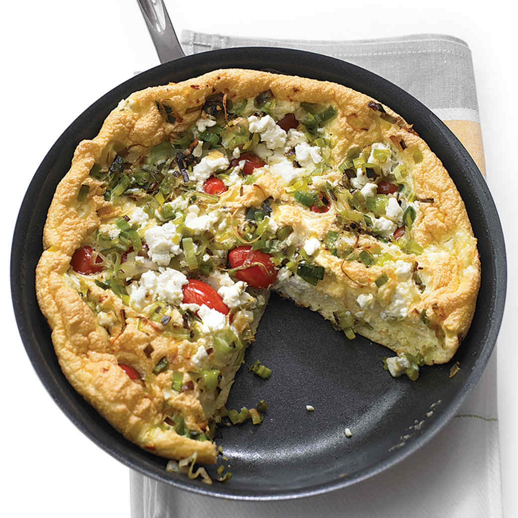 Tomato and Leek Frittata with Goat Cheese