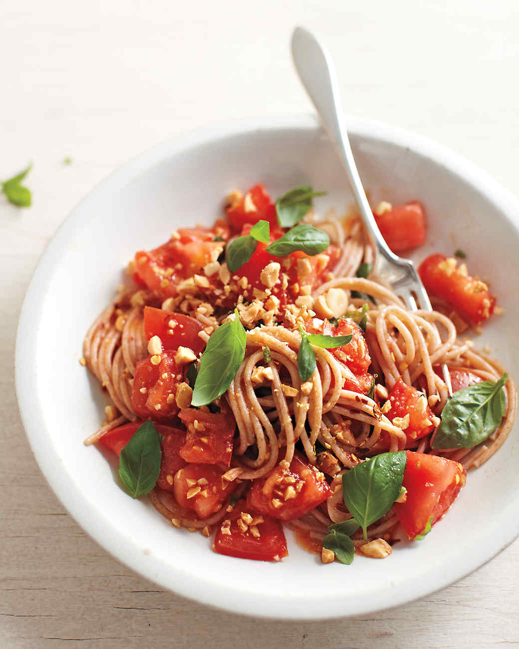 Farro Spaghetti With Fresh Tomatoes and Marcona Almonds