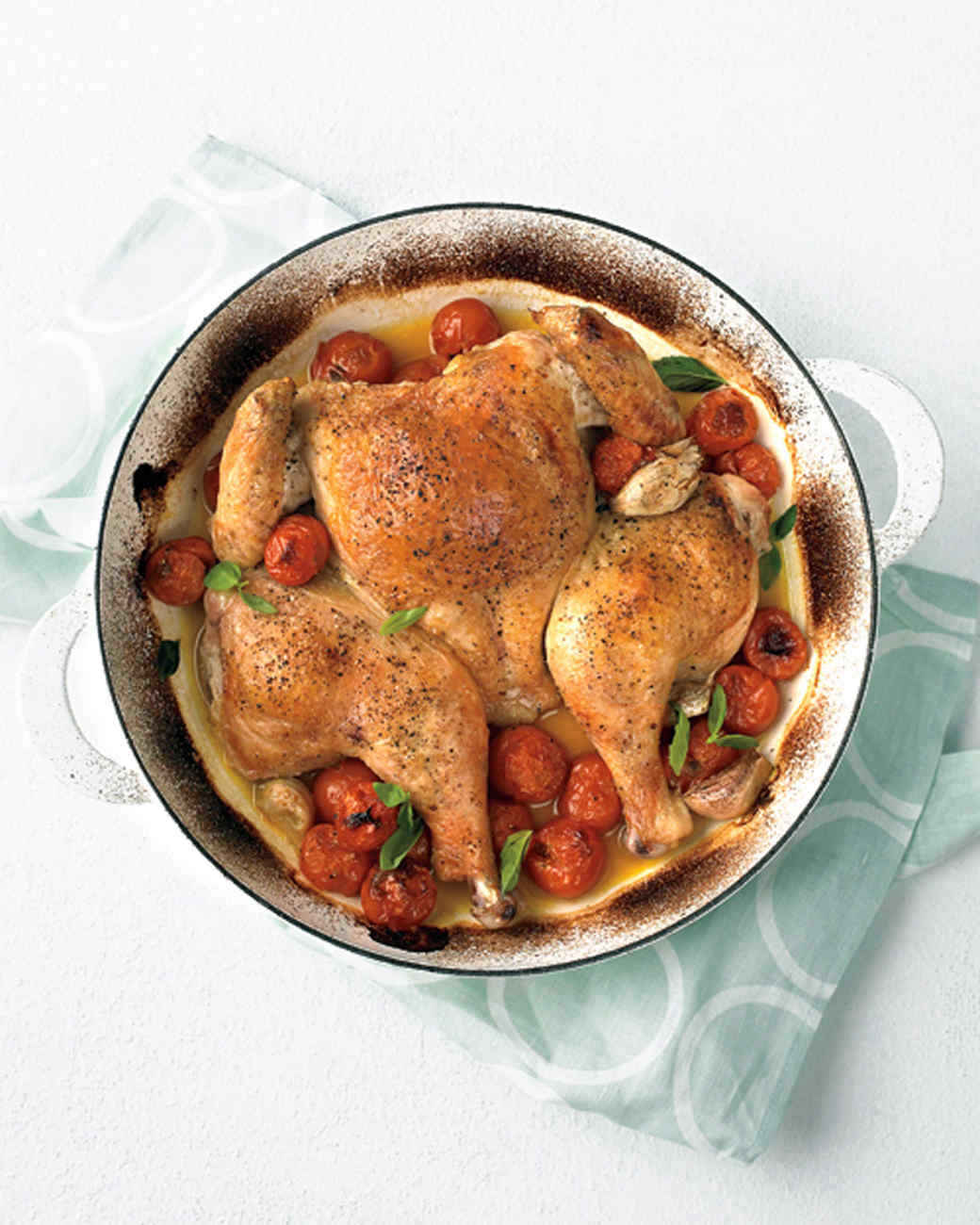 Spatchcocked Chicken with Tomatoes