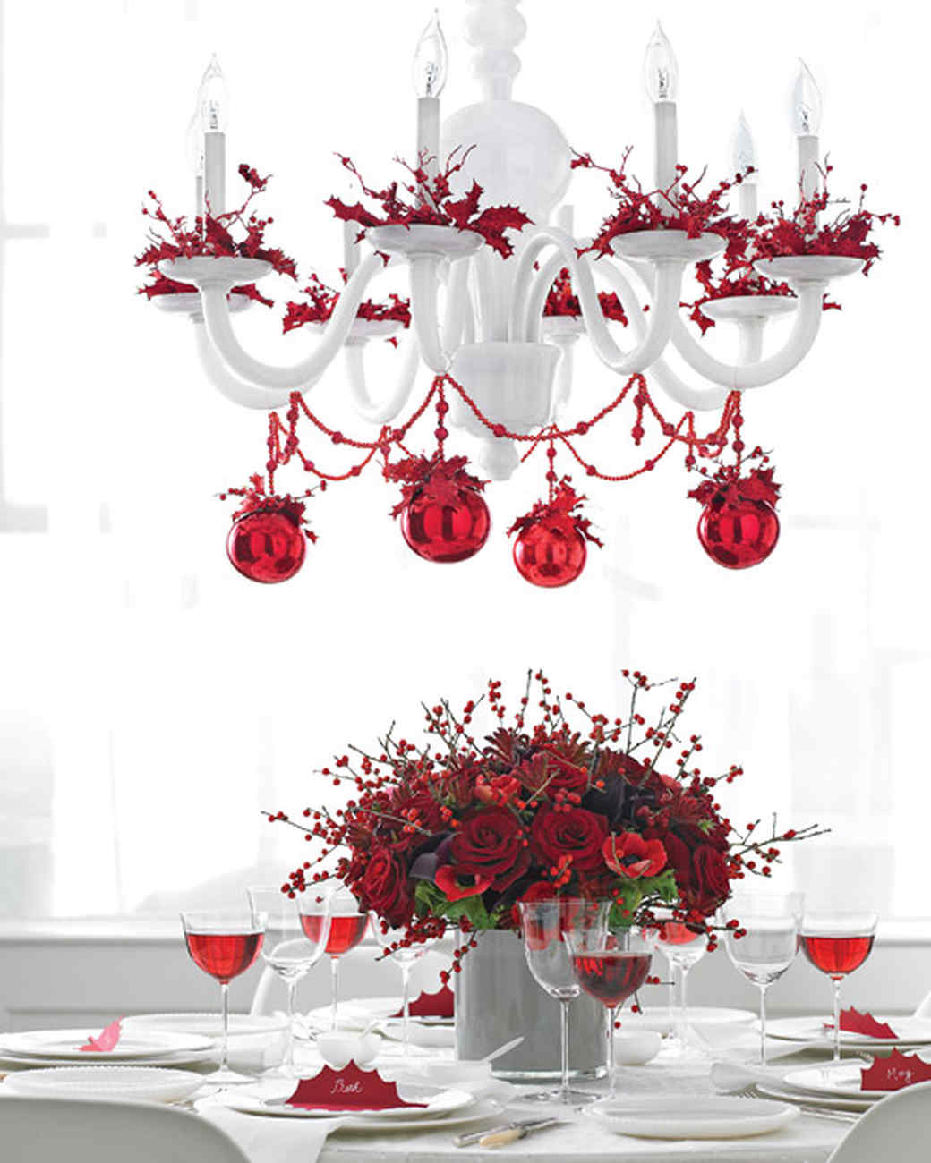 christmas table with chandelier garland and bobeche trim martha stewart - How To Decorate A Chandelier For Christmas