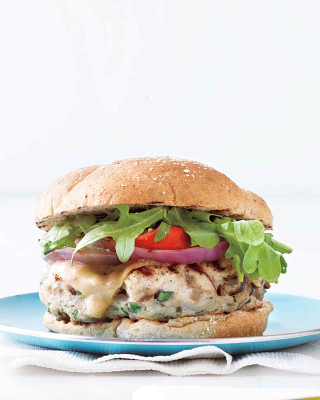 Mushroom-Swiss Turkey Burgers