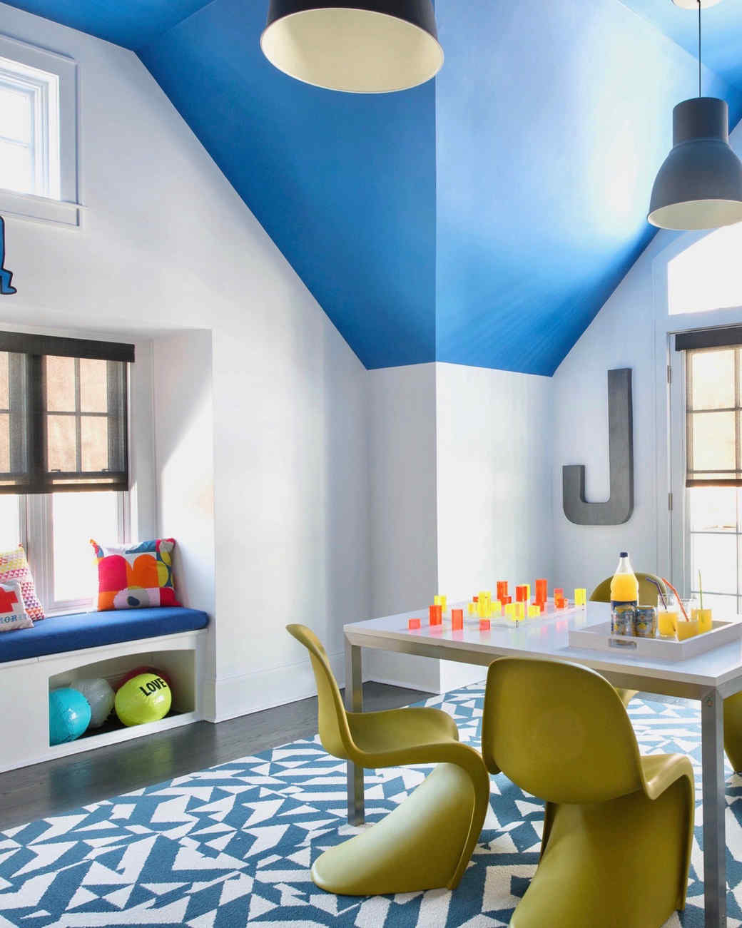 blue dormer playroom with window seat