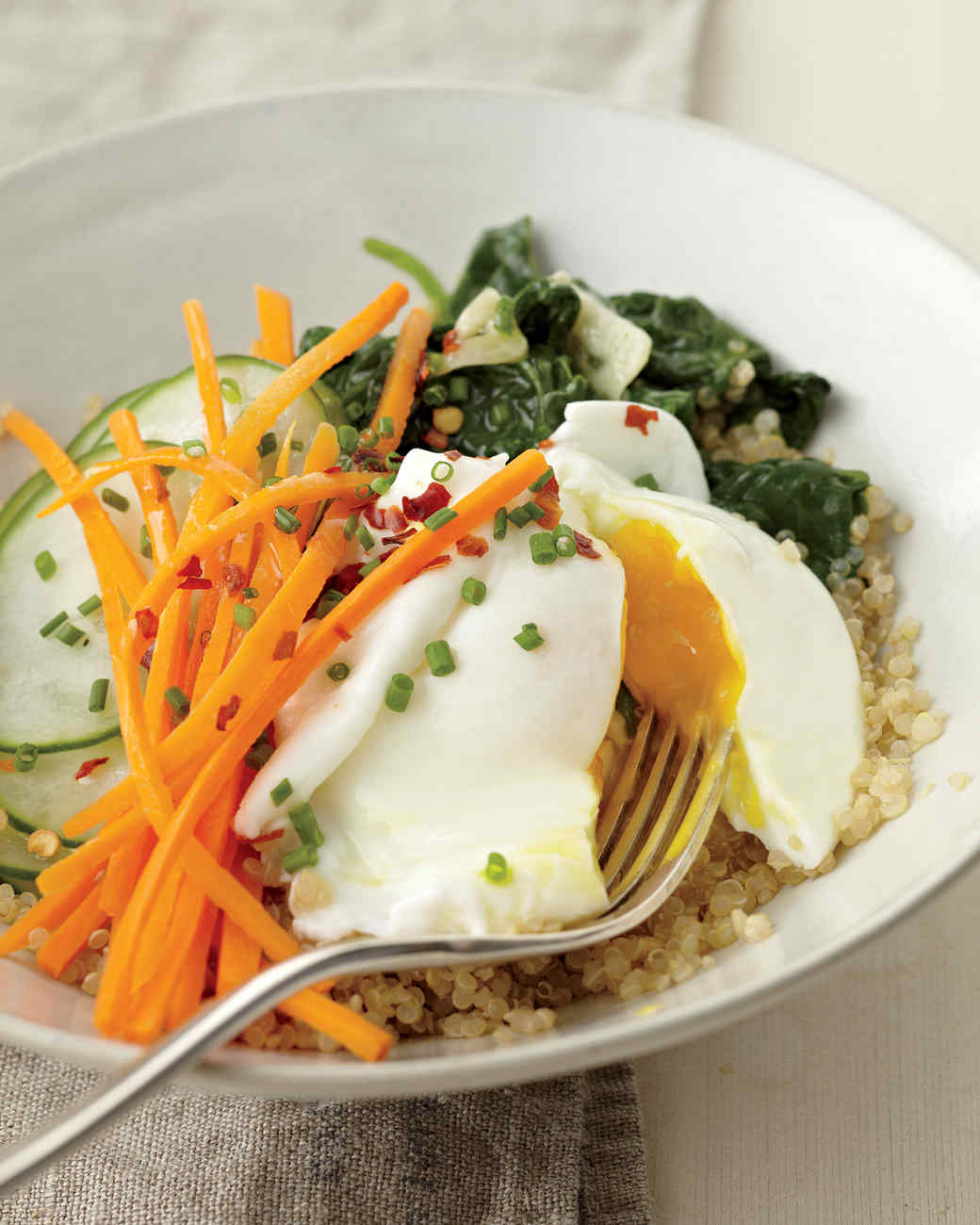Quinoa with Poached Egg, Spinach, and Cucumber