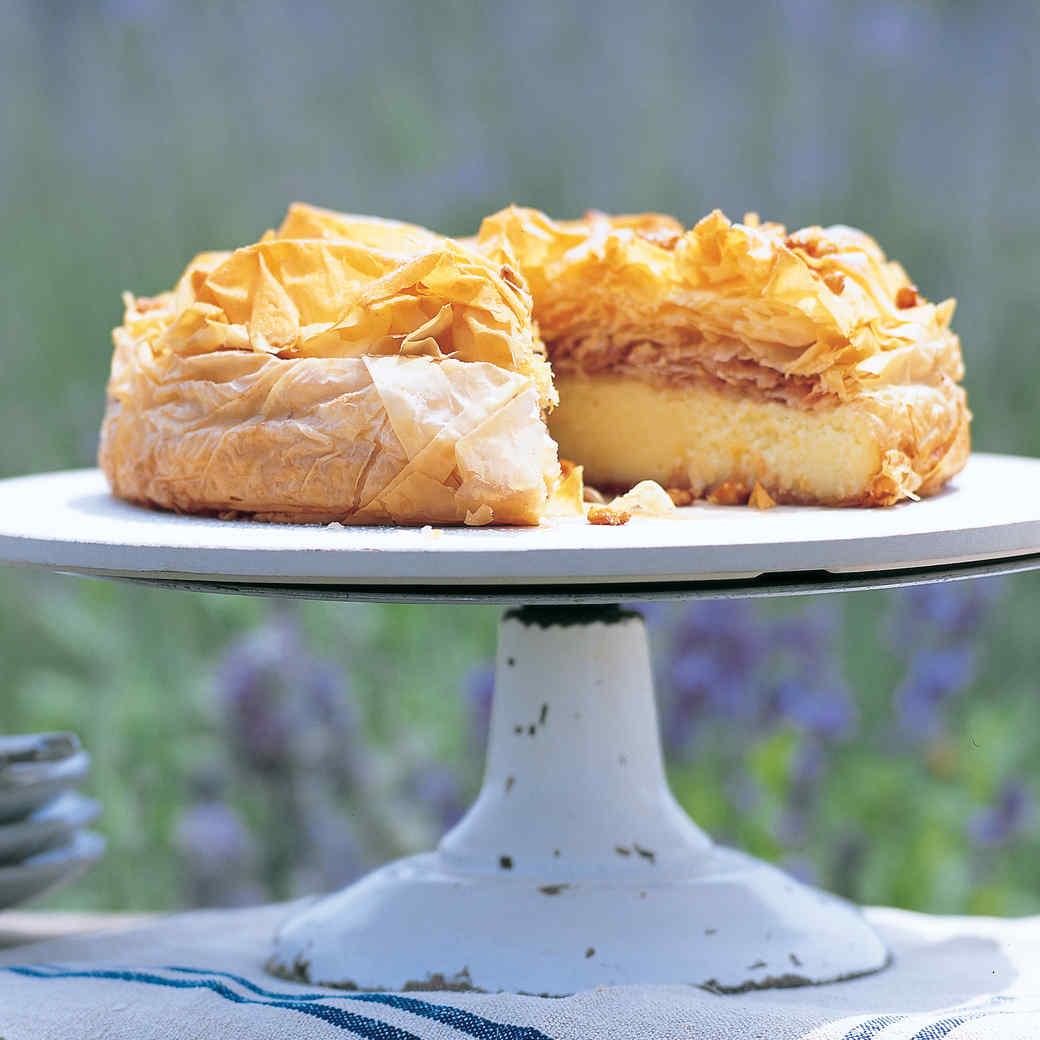 Semolina Custard Tart with Honeyed Pine Nuts