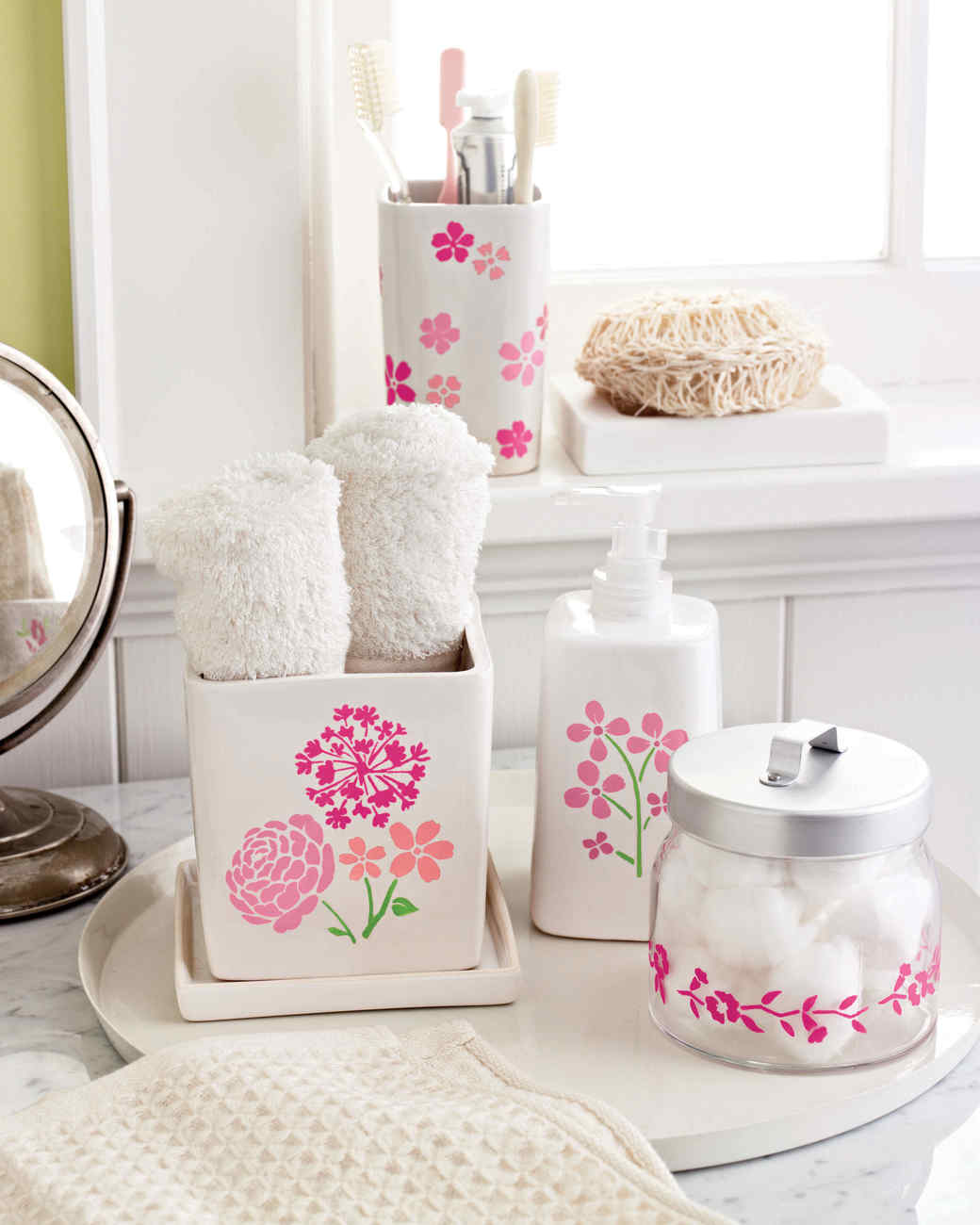 stenciled countertop containers