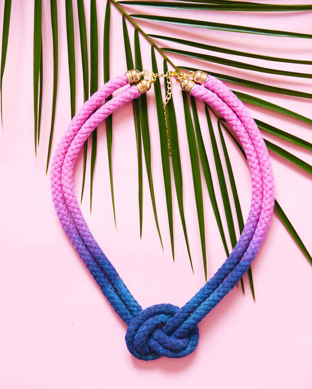 Dip-Dyed Knotted Rope Necklace