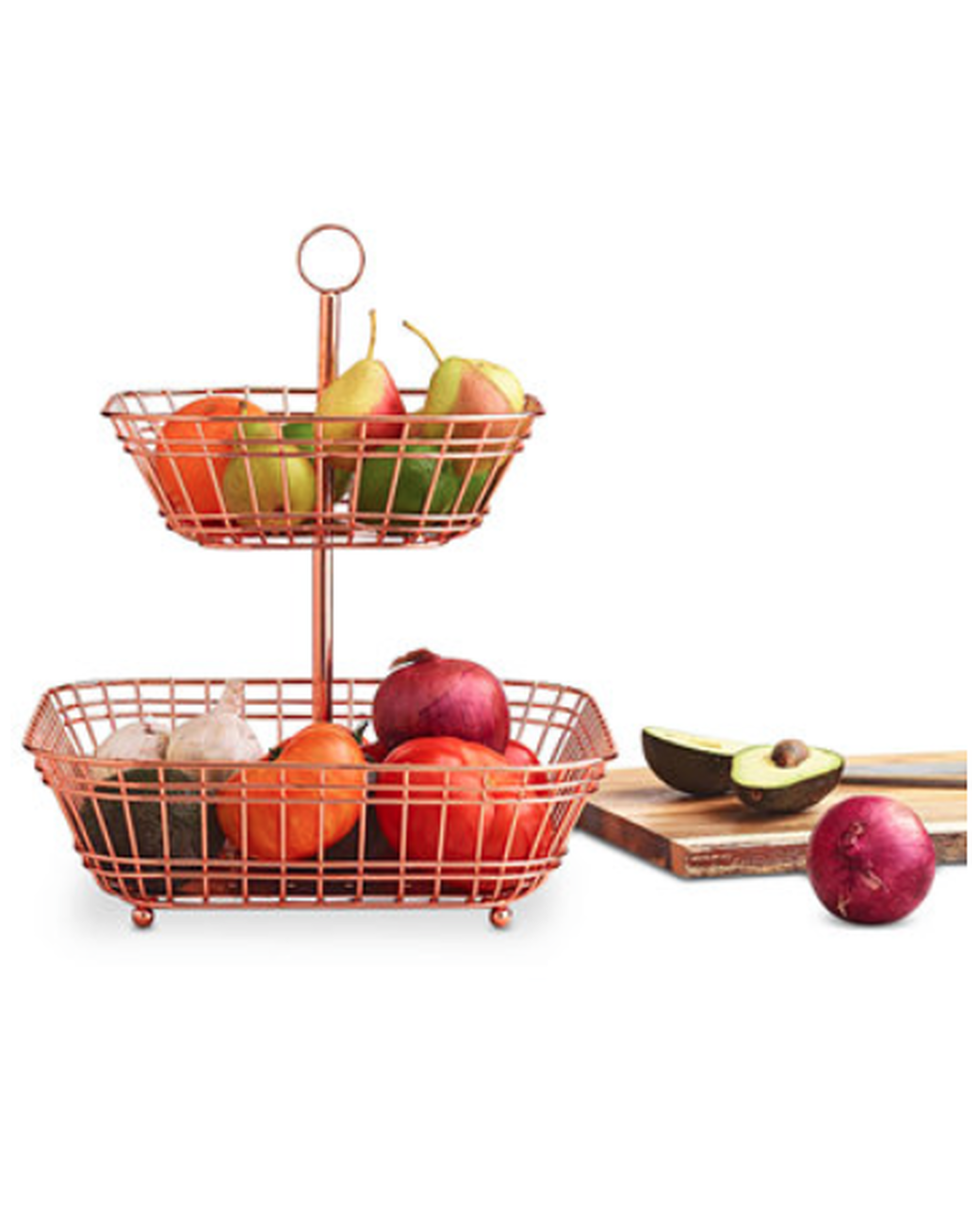 tiered copper fruit basket