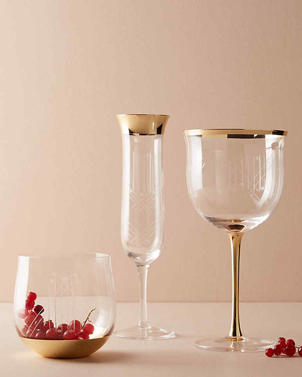 gold-rimmed glassware