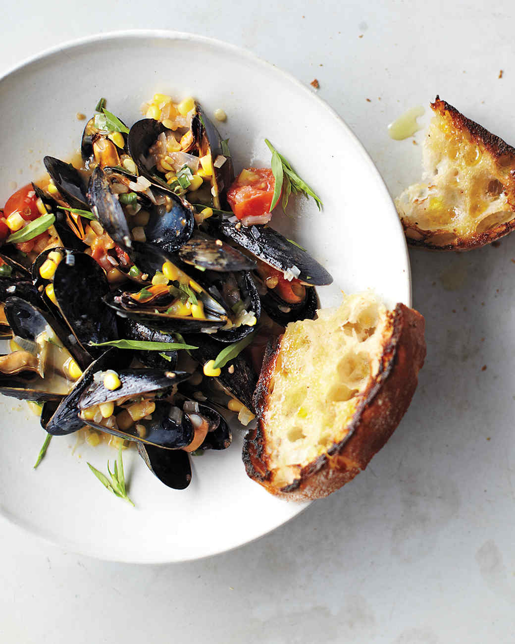 Mussels with Corn, Cherry Tomatoes, and Tarragon