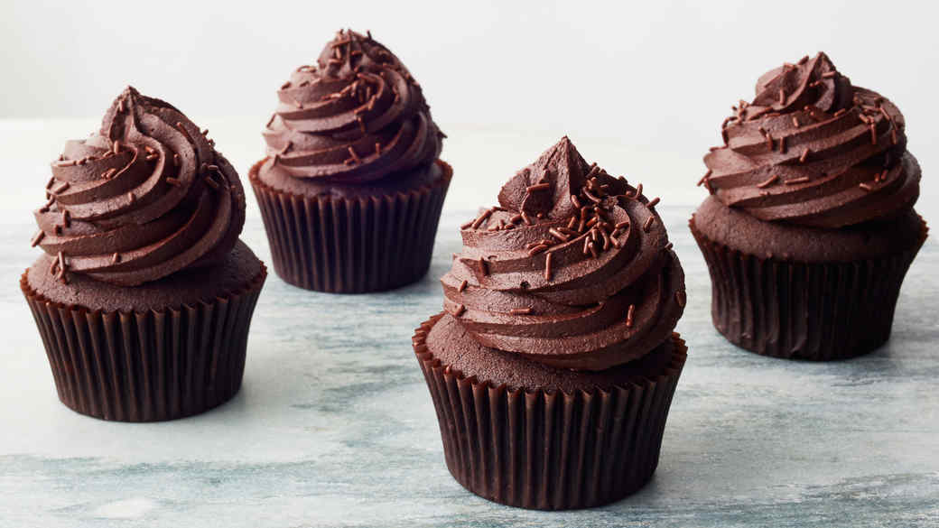 Ingredients to make a chocolate cupcake