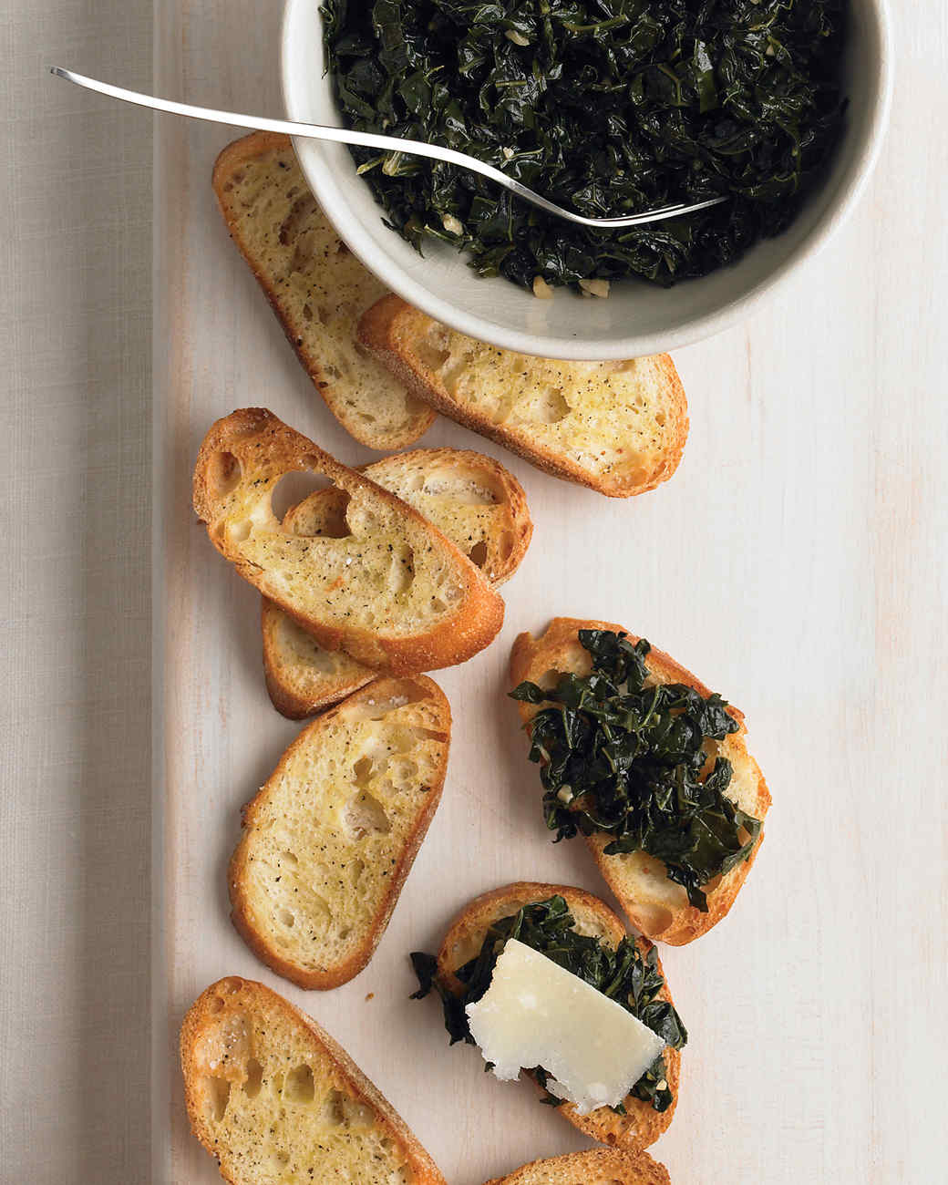 Crostini with Kale and Parmesan