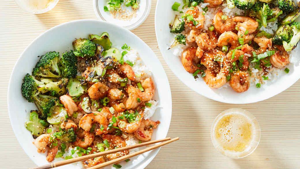sesame shrimp rice broccoli