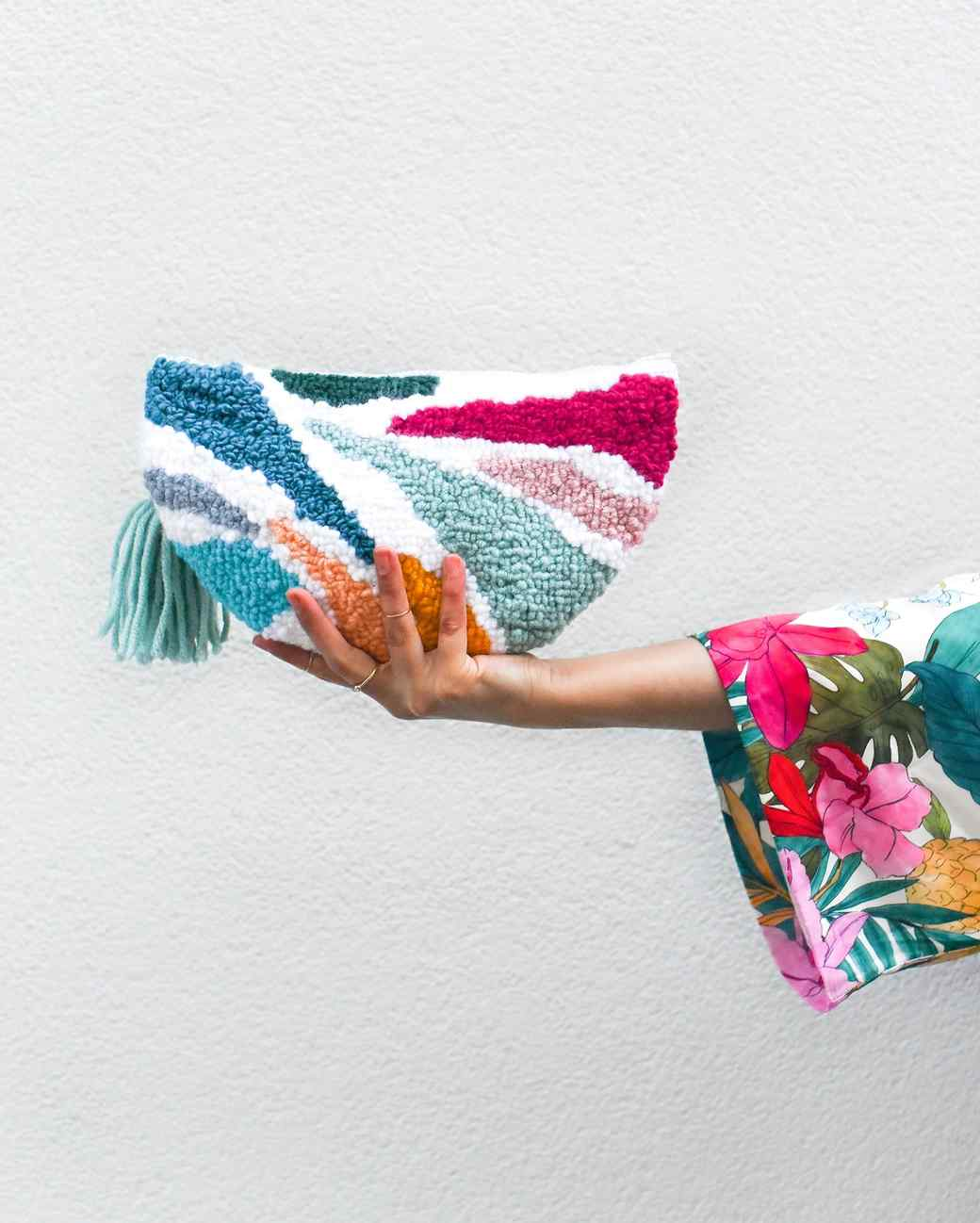 needle punch embroidered clutch