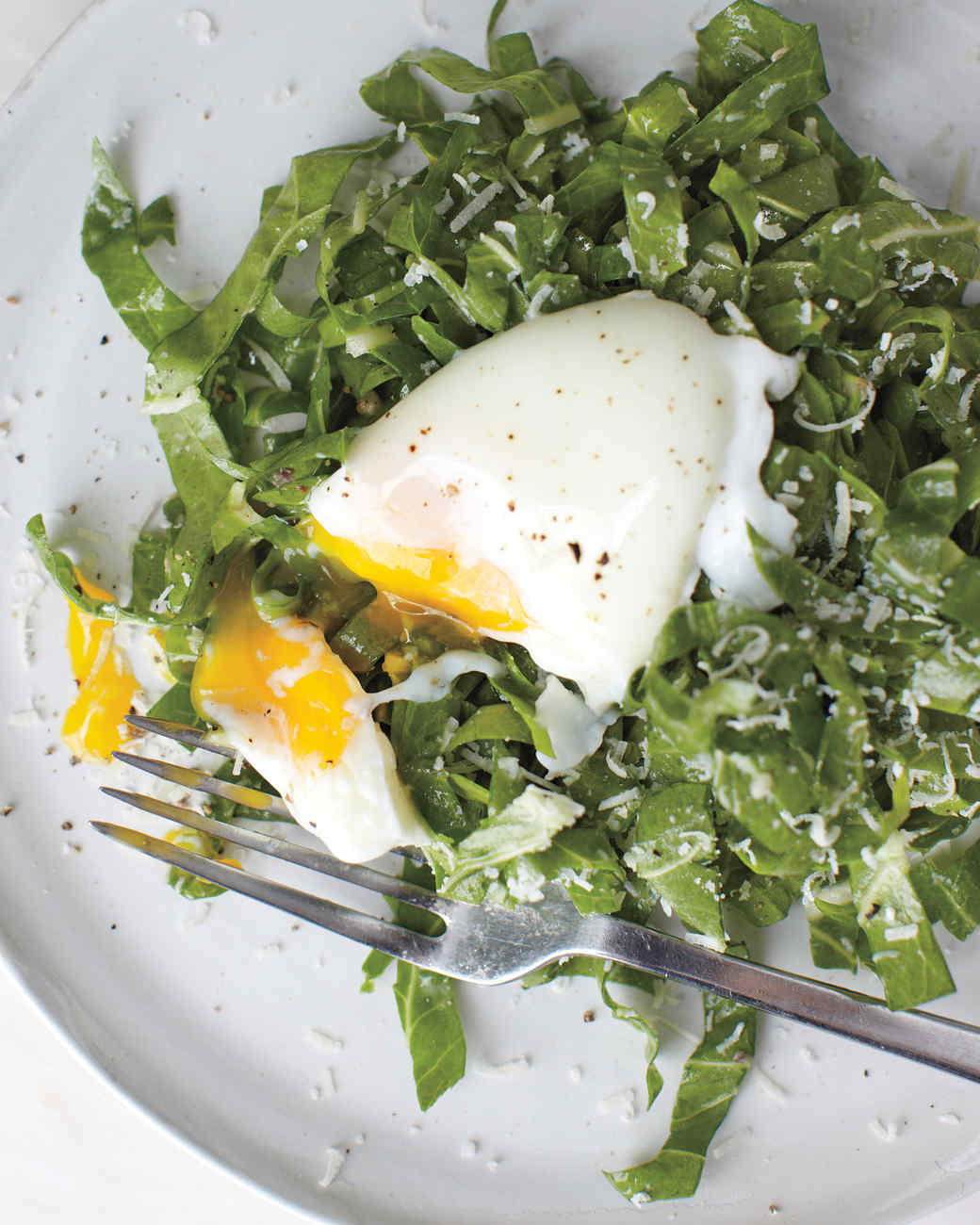 Swiss Chard with Poached Egg Salad
