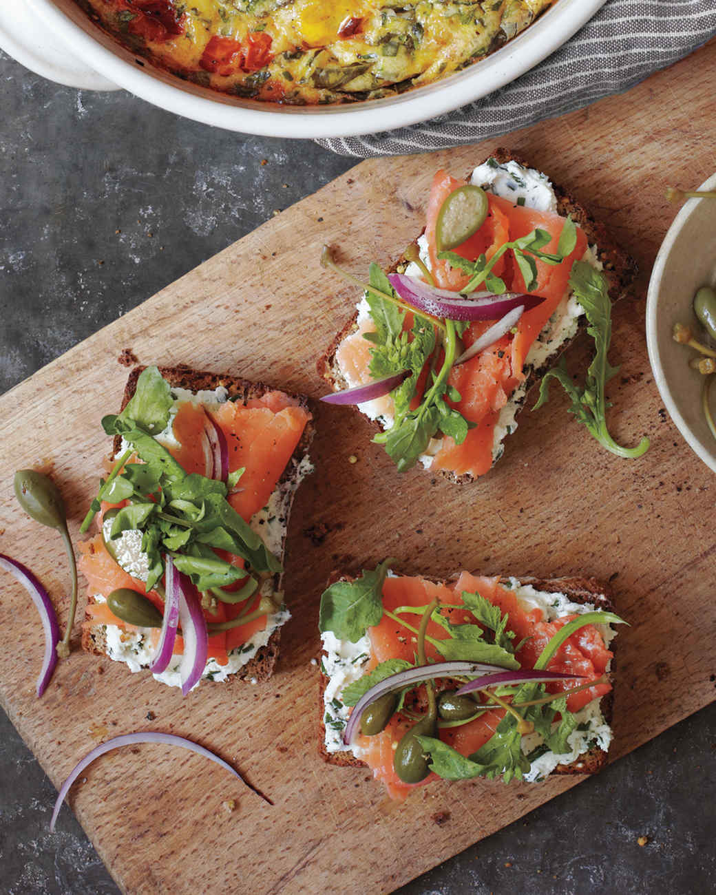 Seeded-Bread Tartines with Herbed Goat Cheese and Smoked Salmon