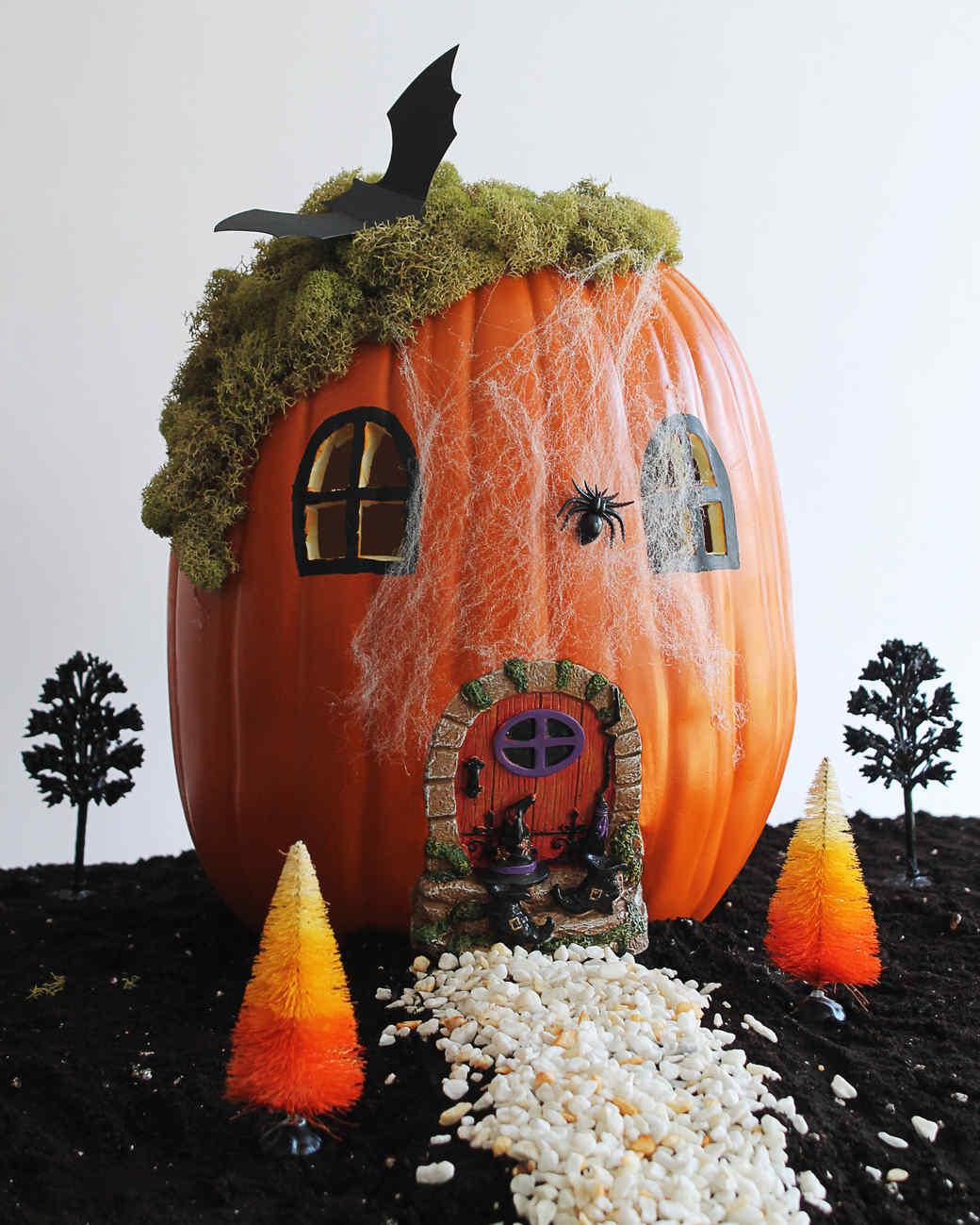 halloween fairy garden pumpkin | martha stewart