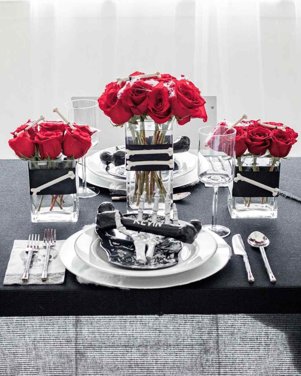 Rose and bone halloween centerpiece martha stewart halloween skeleton dinner party izmirmasajfo Choice Image