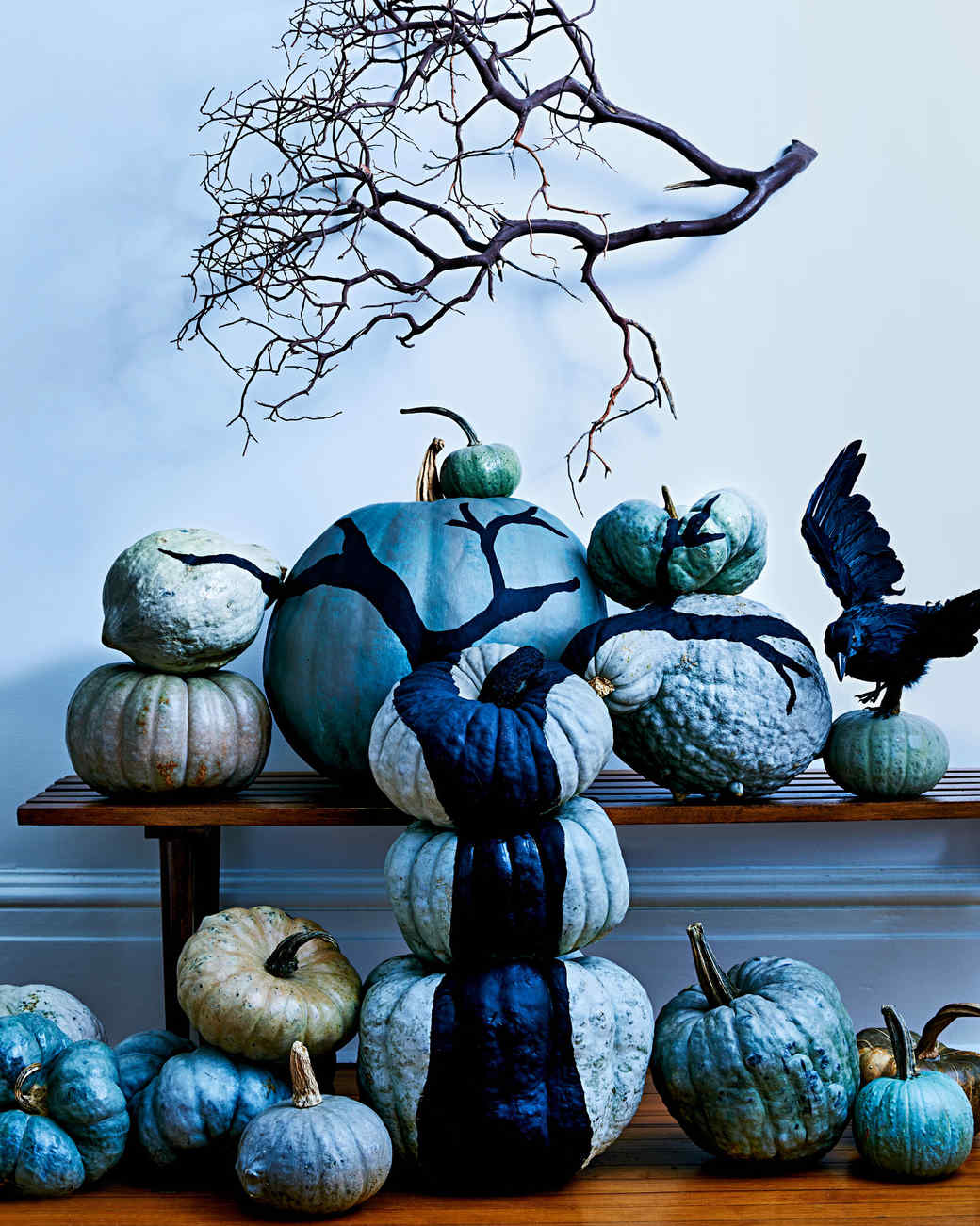 painted tree branch pumpkin