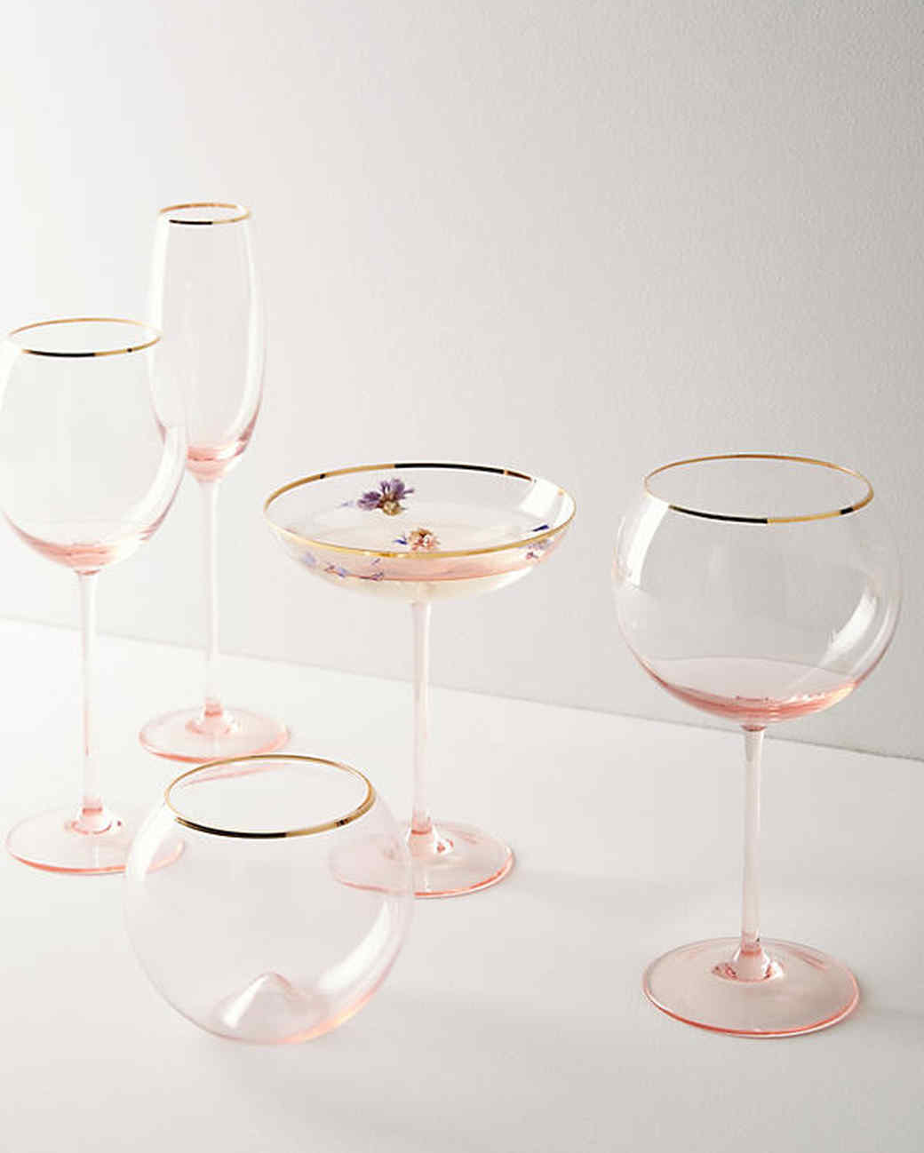 gilded rim glassware
