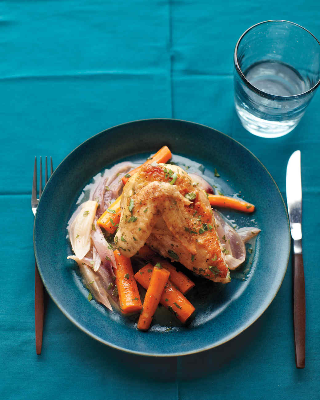 Braised Chicken with Red Onion and Carrots