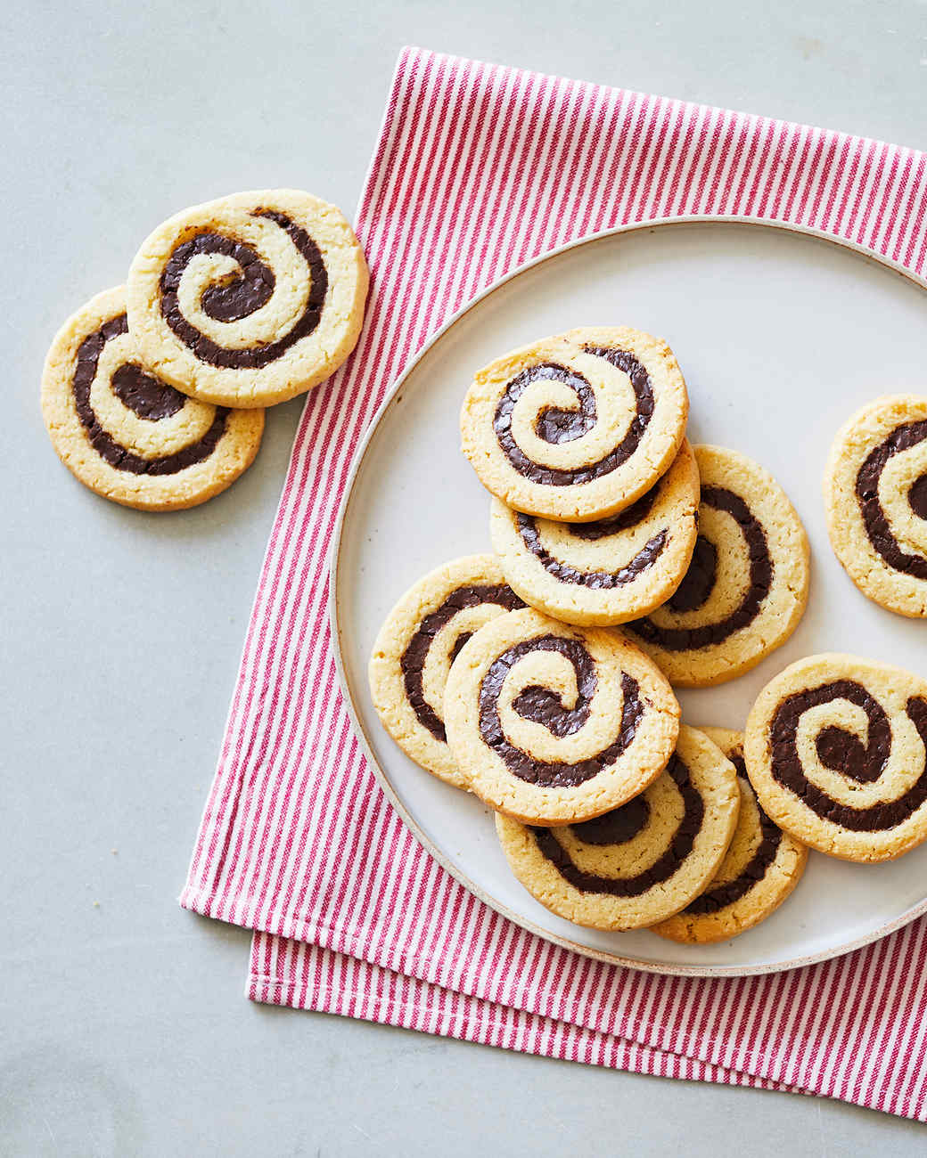 christmas pinwheel cookies birds-eye view