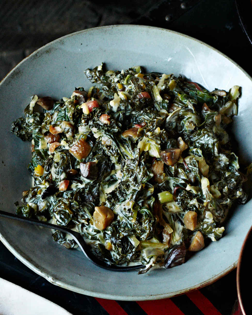 Creamed Greens with Chestnuts
