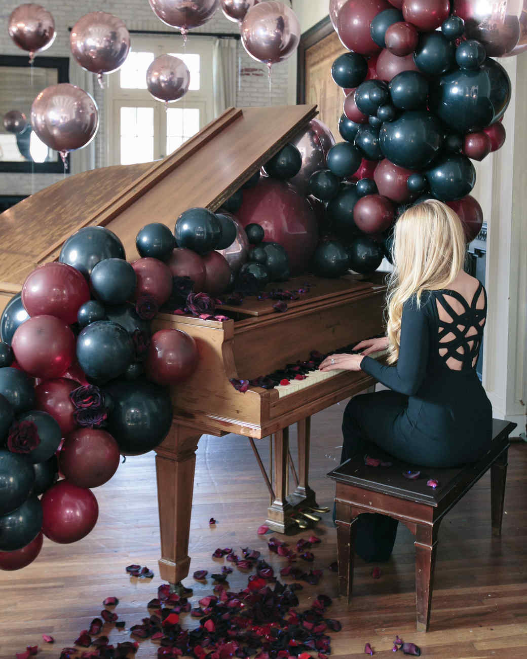 halloween rose gold dinner party balloon decorations piano woman rose petals