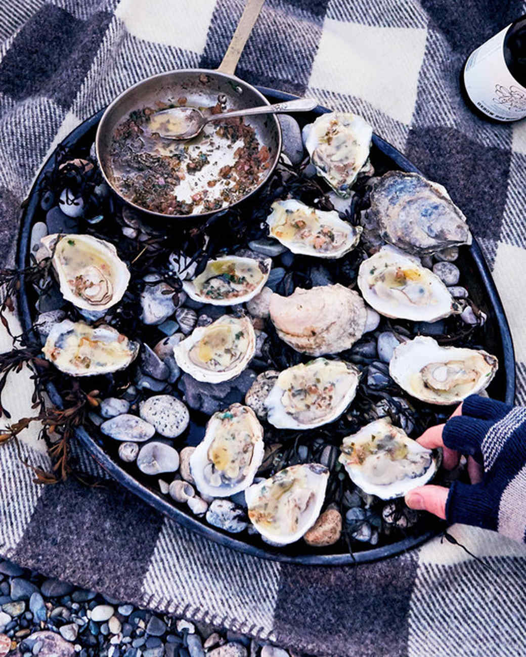 Grilled Oysters with Compound Brown Butter