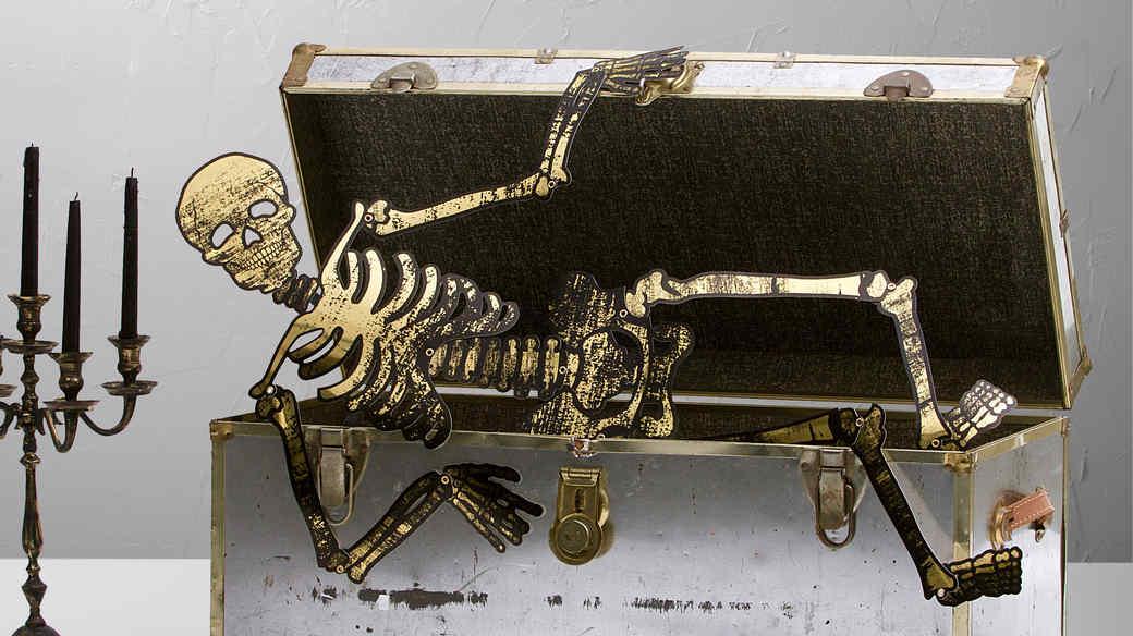 halloween gold skeleton in trunk