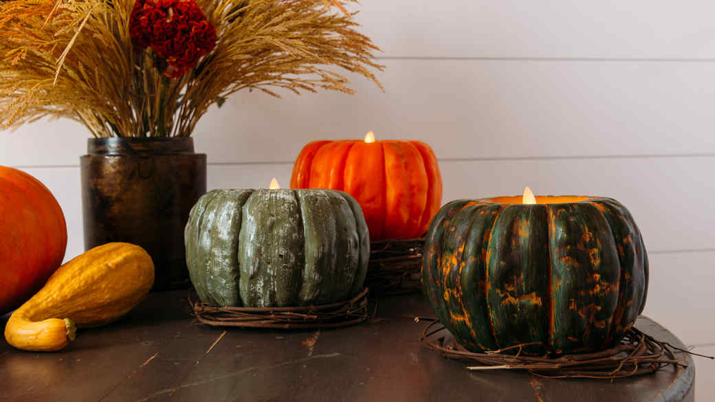 flameless candles shaped like pumpkins
