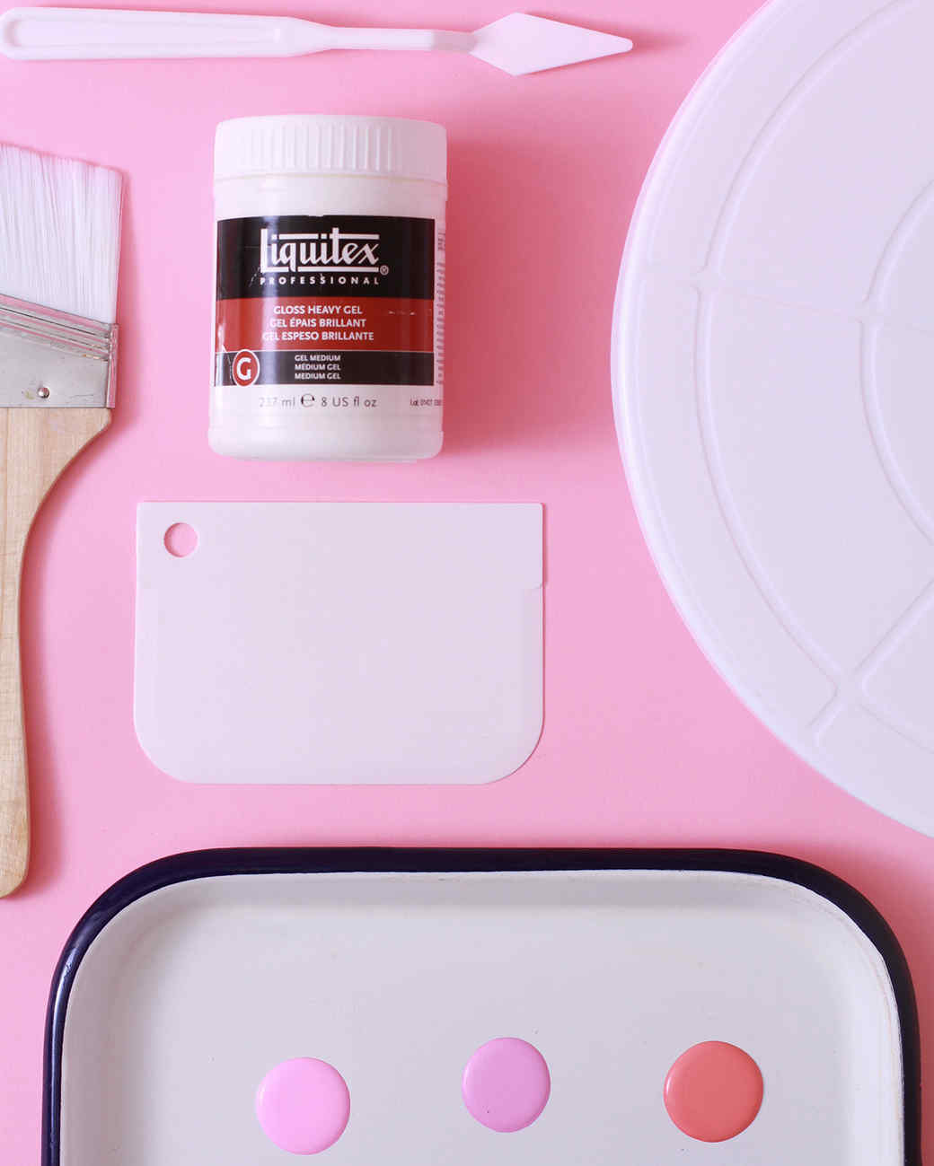tools and materials for pink watercolor paint planter