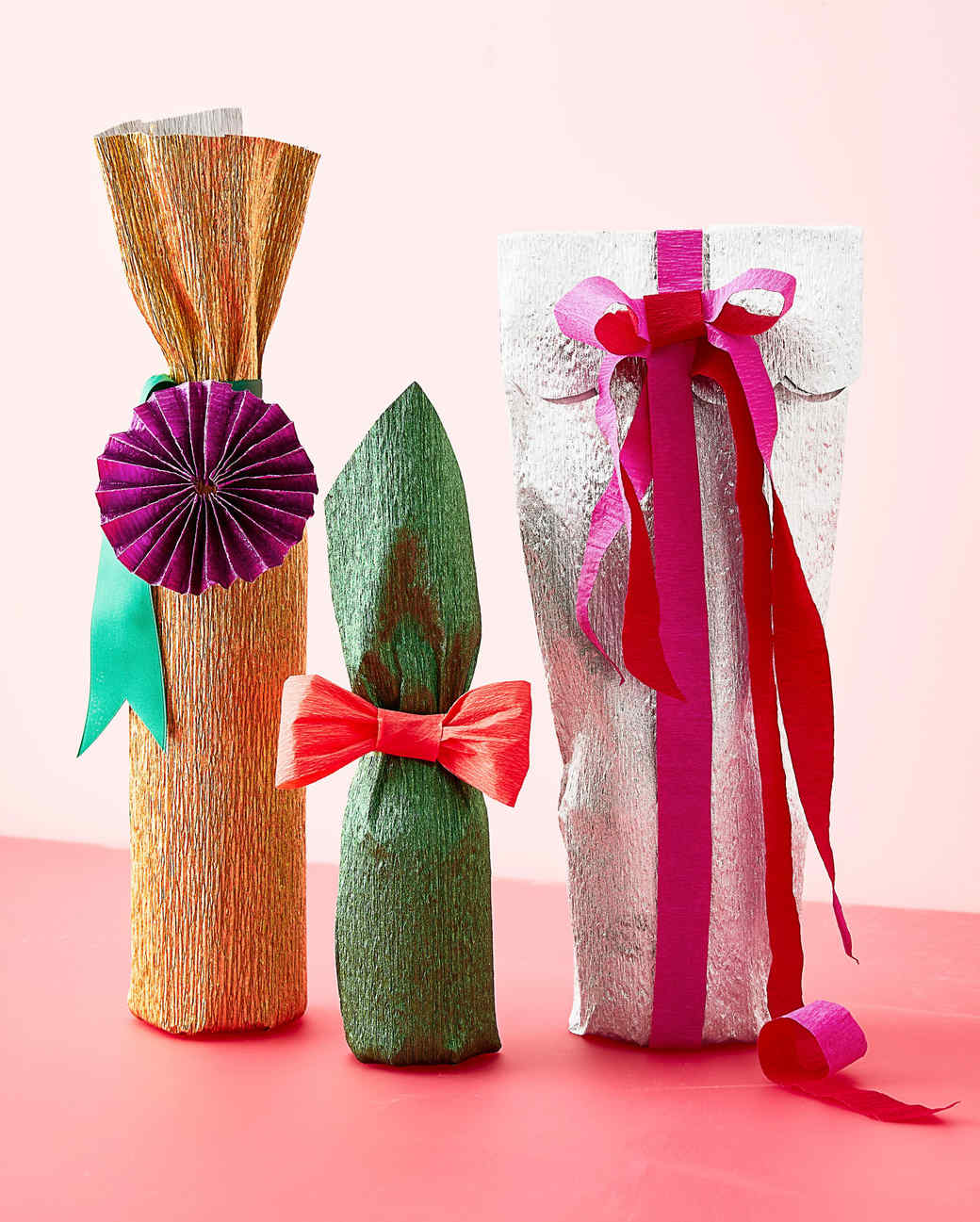 gift wrapping bows for bottles ideas