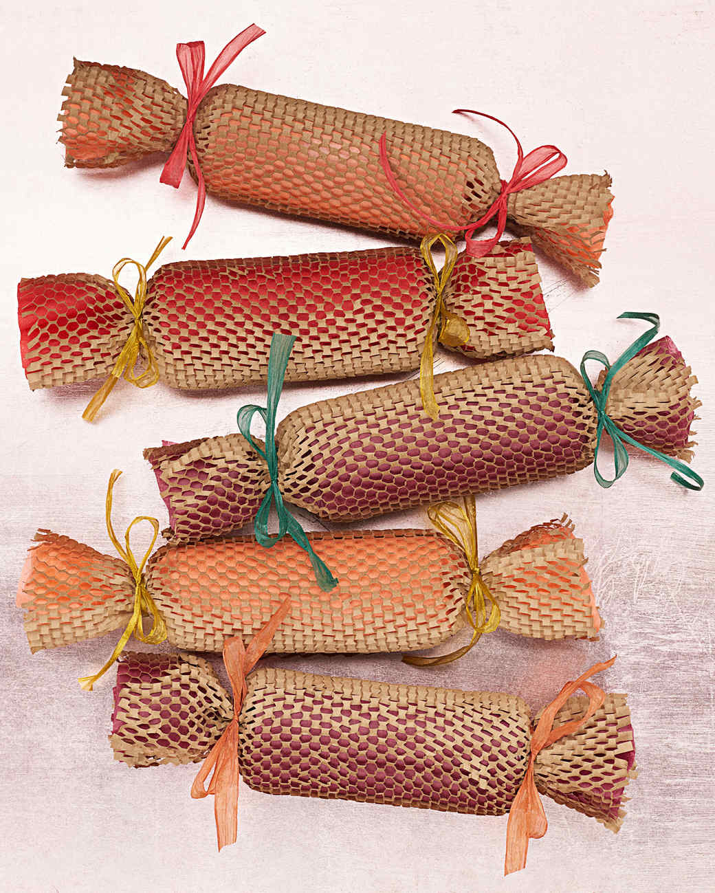 Christmas gift wrapping ideas martha stewart brown paper mesh christmas crackers negle Images
