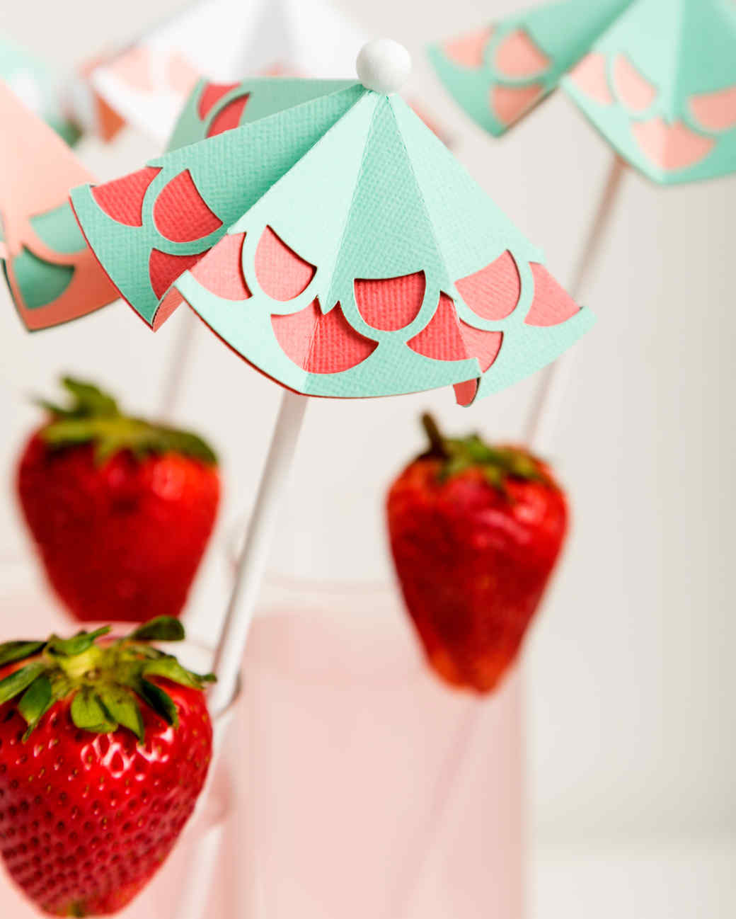 paper umbrellas strawberry
