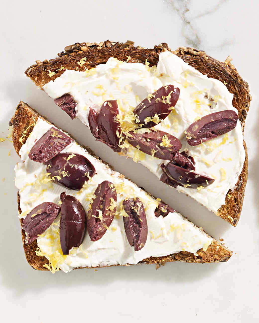 lemony olive cream cheese toast