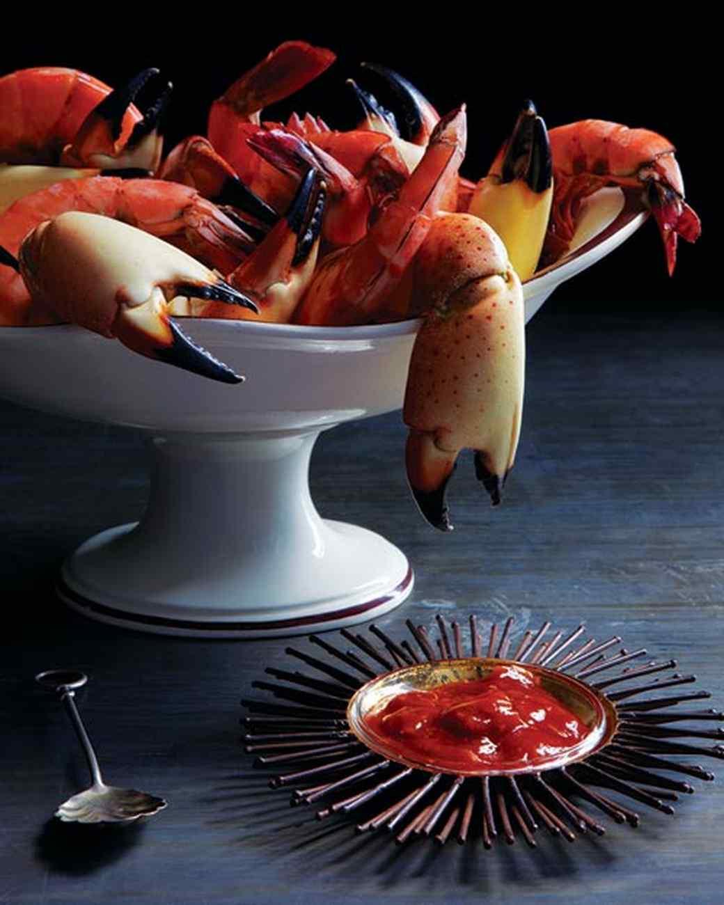 crab, shrimp, cocktail sauce