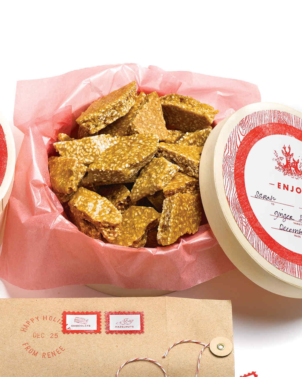 brittle box made with love and enjoy gift labels - Christmas Candy Ideas