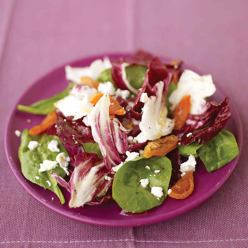 Baby Spinach Radicchio Salad with Baby Beets and Goat Cheese
