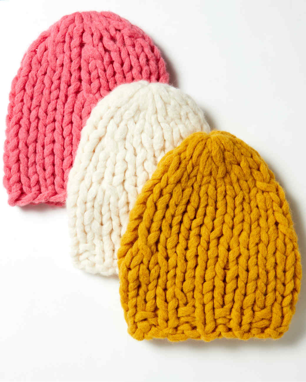 multi-colored hand-knit stocking hats