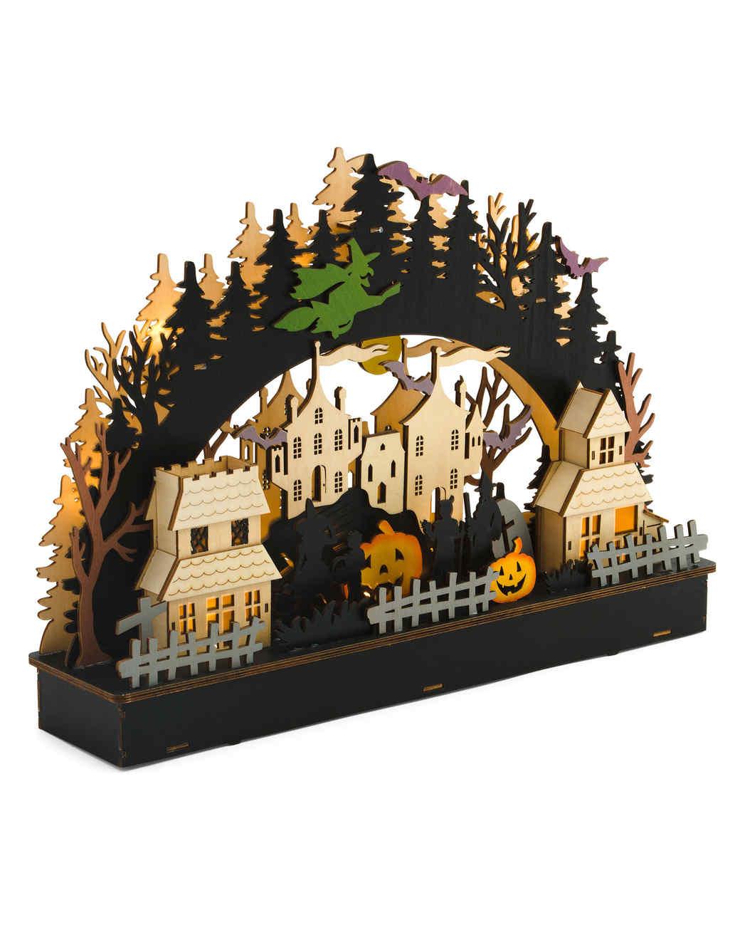wood laser cut halloween scene