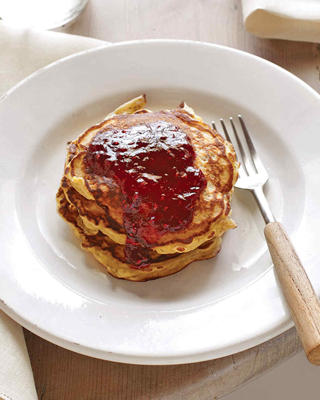 Hazelnut Pancakes with Raspberry Sauce