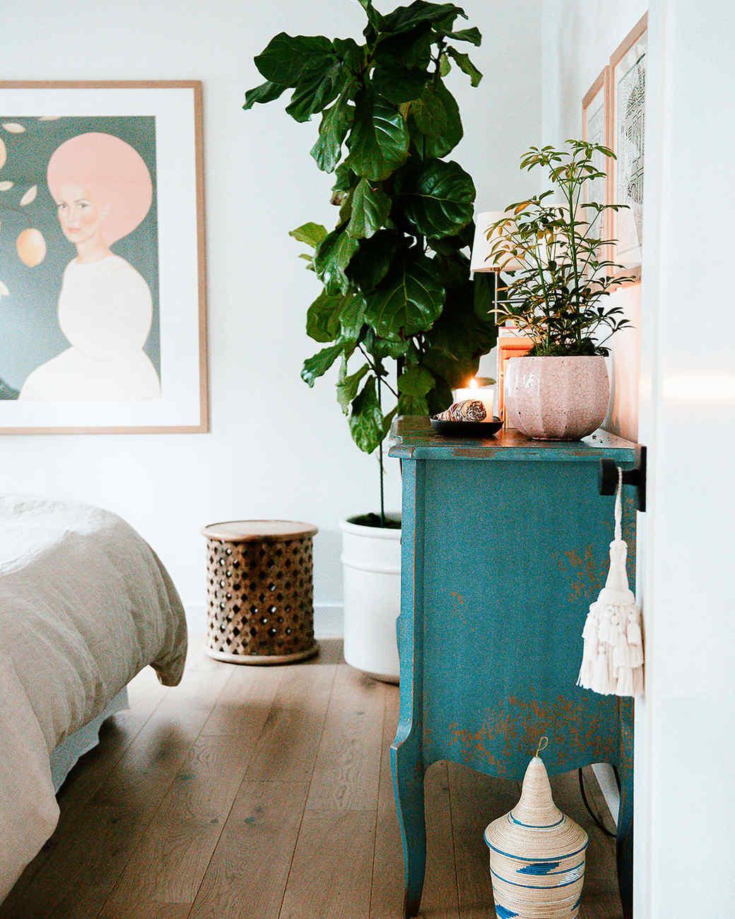 vintage blue dresser in bedroom