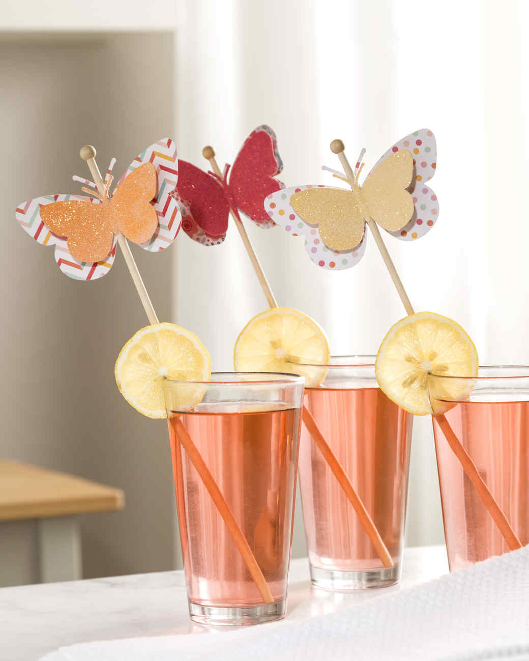 cricut colorful butterfly drink stirrers sparkle