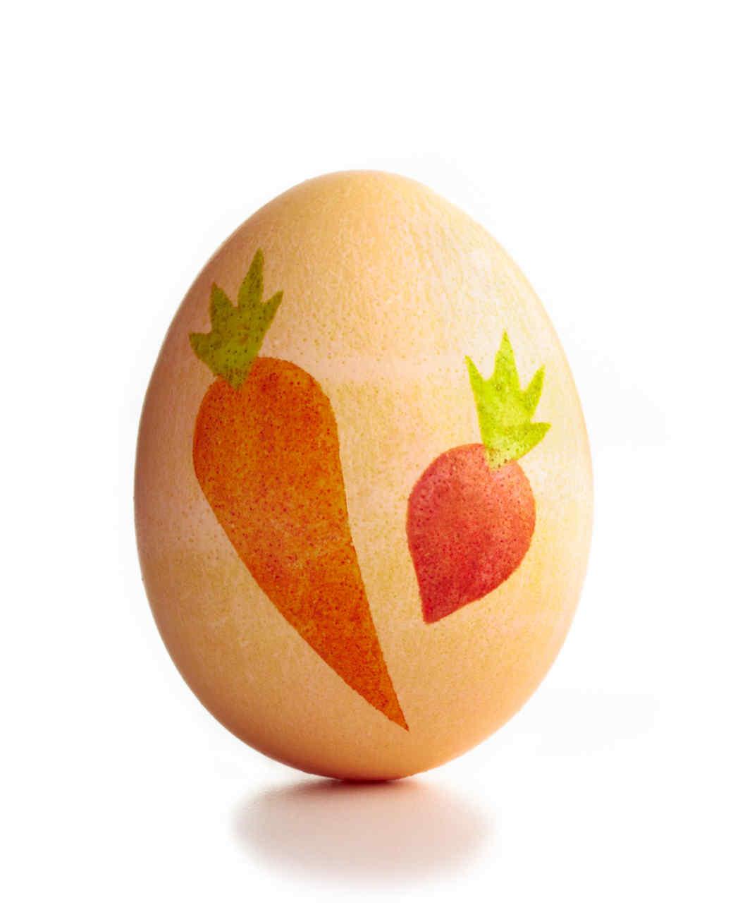 Stenciled Veggie Easter Egg